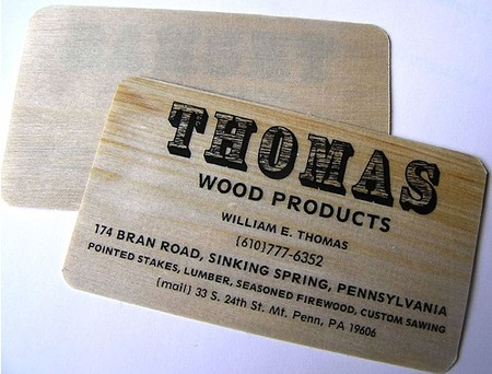 Thomas Wood Products cool business cards design
