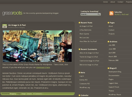 Grass Roots - Free WordPress Theme