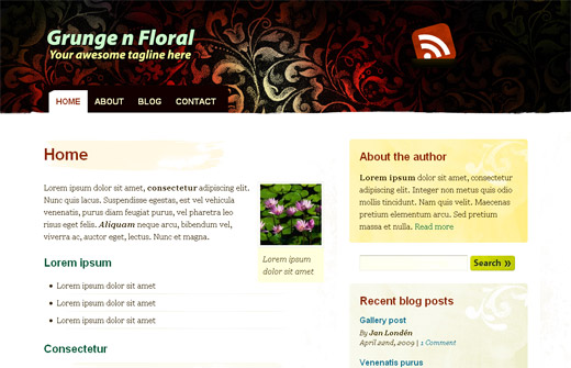 Gunge 'n Floral Free WordPress Theme