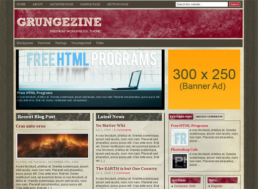 Grungezine Free WordPress Theme