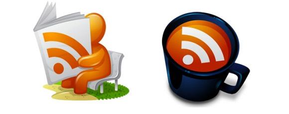 Coffee cup, Bilboard, Balloon and Dude reading RSS Icon pack