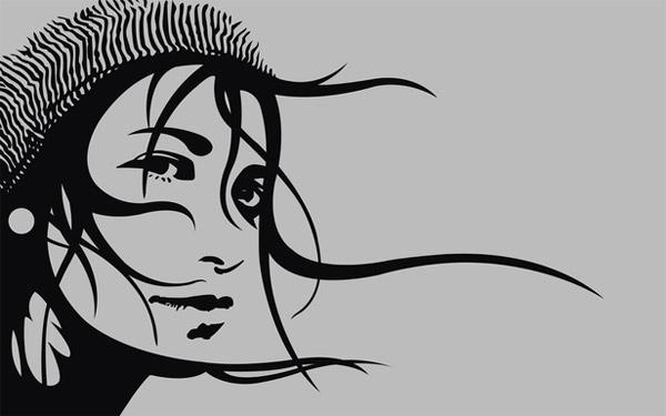 Vector Girl minimal wallpaper
