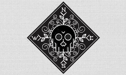 ornate black skull logo
