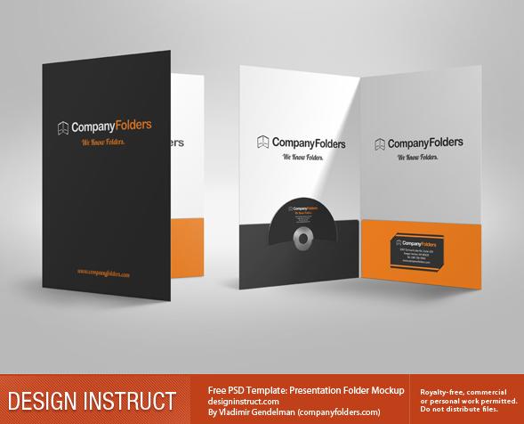 Free 3D Presentation Folder PSD Mockup