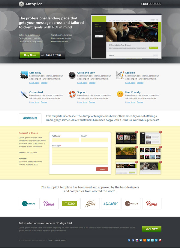 20+ Awesome Landing Page Templates