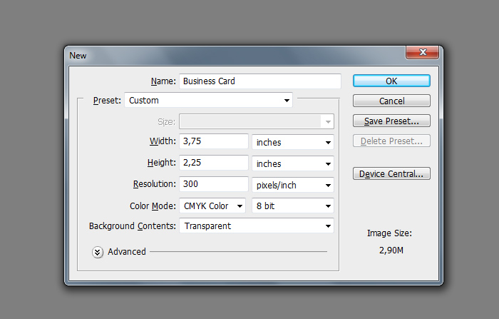 Designing a beautiful business card in photoshop for Business card size with bleed