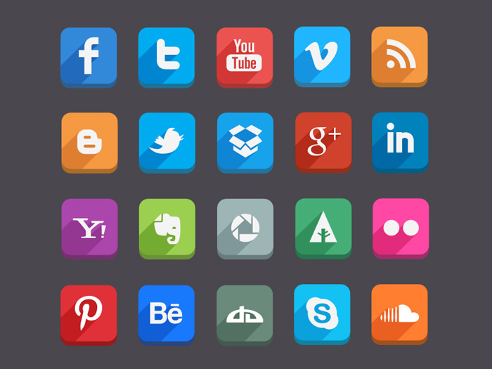 Long Shadow Social Media Icons