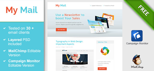 Free Html Email Newsletter Templates | 40 Cool Email Newsletter Templates For Free