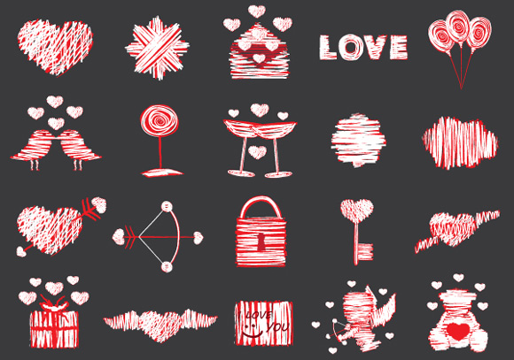 20 Free Love Vector Elements Pack