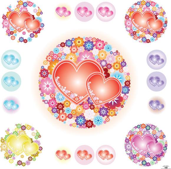 Flowery Hearts Vector