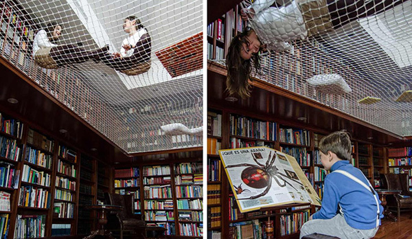 7. Library ceiling net by Playoffice