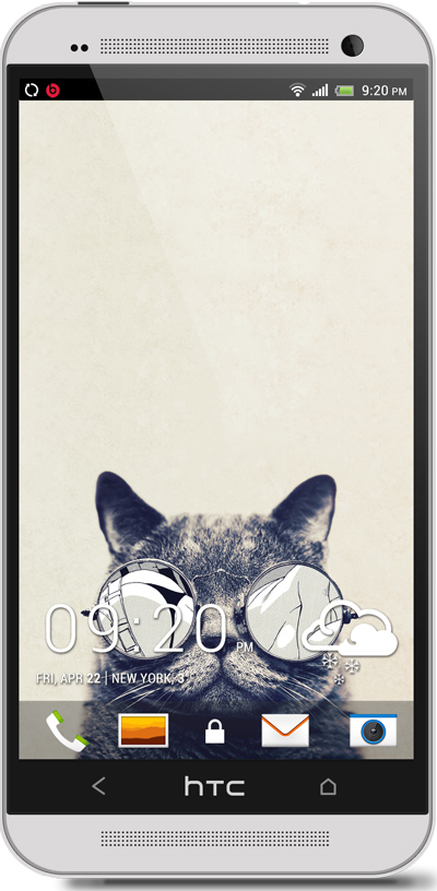 Cat with Glasses HTC One Wallpaper
