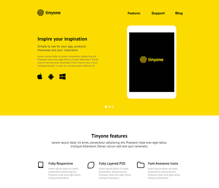 Tinyone PSD and HTML template