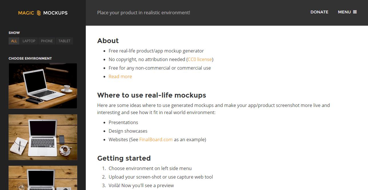 Magic Mockups • Free real life mockup generator