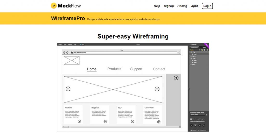 MockFlow WireframePro   Design user interface concepts for websites