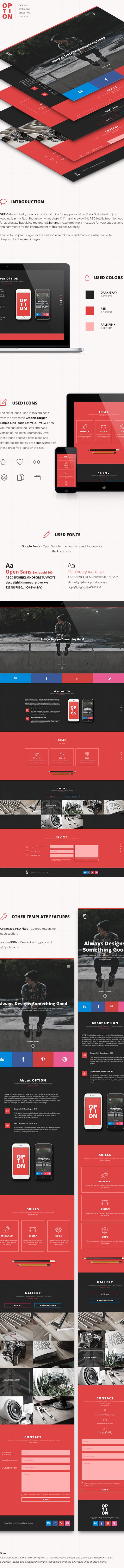 Daily Freebie: Option – A Stunning One-page Responsive Ready Web Template (PSD)