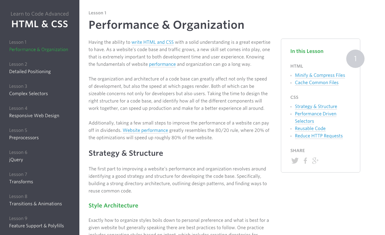 Performance Organization Learn to Code Advanced HTML CSS