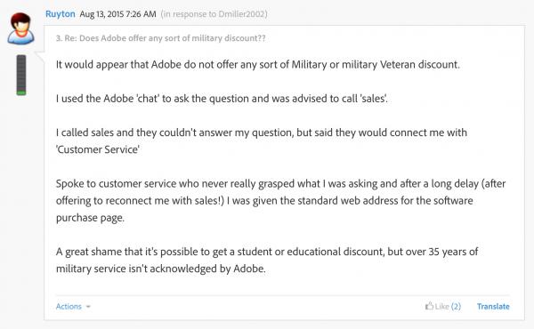 military discount thread adobe