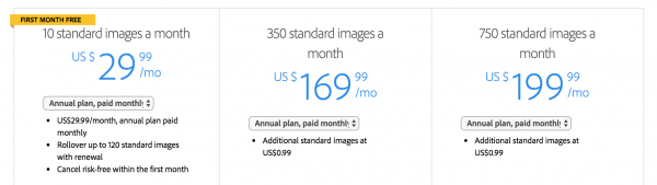 adobe stock images pricing yearly