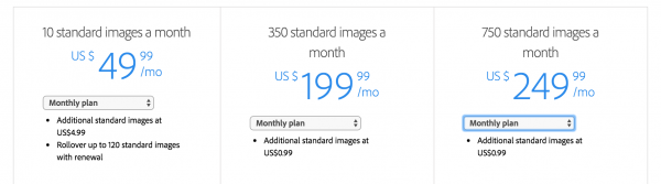 adobe stock pricing monthly