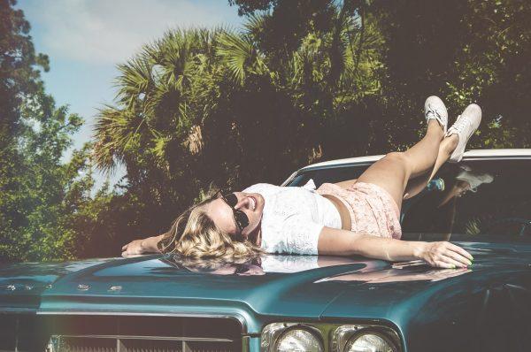 girl on the car