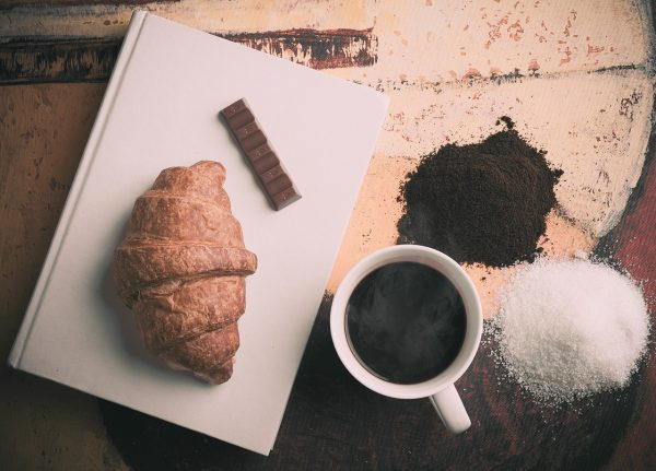 croissant, coffee and chocolate