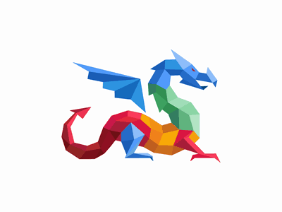 Rainbow colored dragon