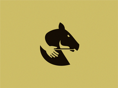 Horse with hand logo