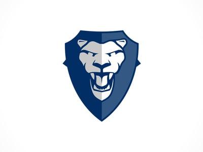 Blue lion shield logo