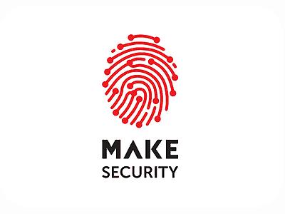 Red thumbprint security logo