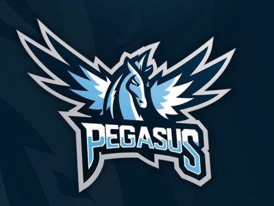 Blue pegasus mascot
