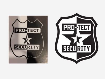 Black and white security badge