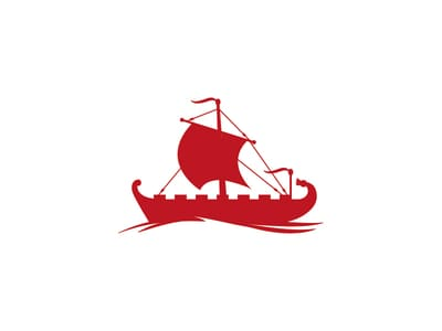 Red viking boat