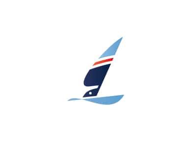 Racing sailboat logo