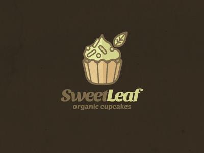 Cupcake with Leaf logo