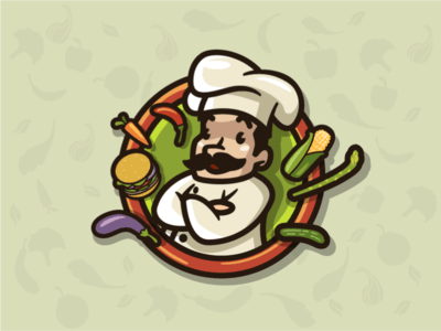 Chef with food logo