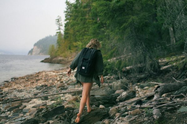 woman is hiking