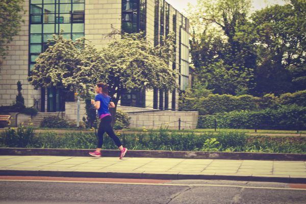 woman is jogging