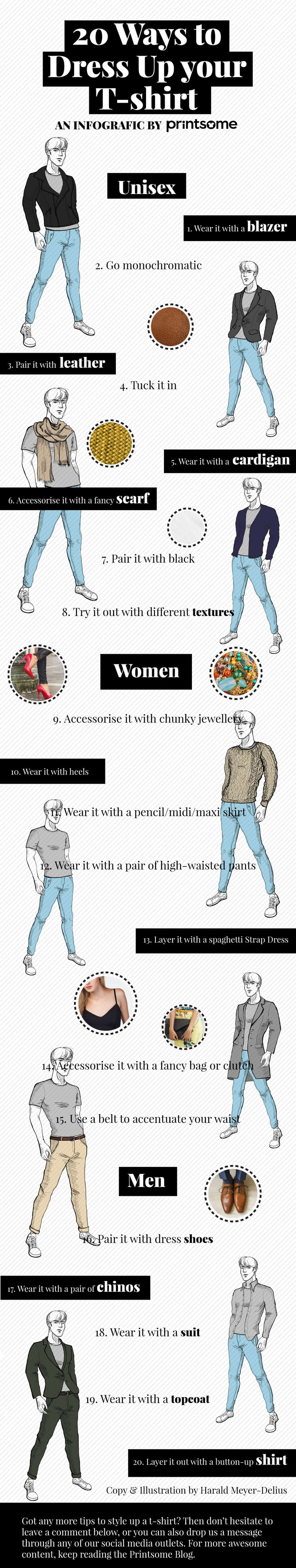 20 simple ways to dress up your t shirt for Ways to design t shirts