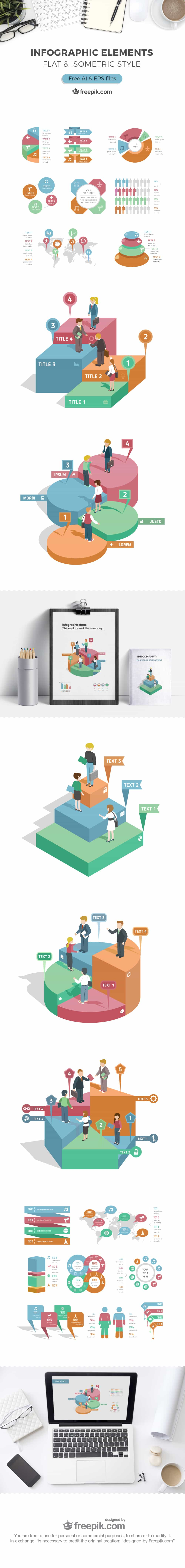 Flat and Isometric Style Infographic